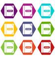 english dictionary icon set color hexahedron vector image vector image