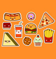 fastfood fashion cartoon kawaii stickers vector image vector image