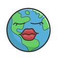 female planet earth cartoon vector image