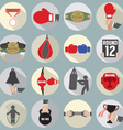 Flat Design Boxing Icon Set vector image vector image