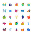 flat icons set of gift box vector image