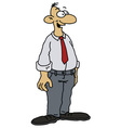 Funny man in a white shirt vector image vector image