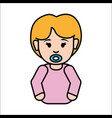 girl baby with pacifier icon vector image vector image