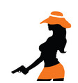 girl silhouette with gun vector image vector image