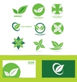 Green leafs logo icon set vector image