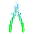 halftone blue-green pliers icon vector image