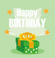 happy birthday card with gift box vector image vector image