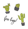 happy cactus print cool kids design with vector image vector image