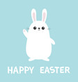 happy easter white bunny rabbit waving hand funny vector image vector image