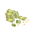 heap of dollar bills green banknotes packed in vector image