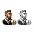 hipster barista with the beard holding a cup of vector image vector image
