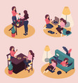 isometric girlfriend spend a weekend together vector image