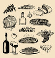 italian cuisine menusketched traditional southern vector image vector image