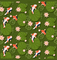 koi fish swimming under pink lotus seamless vector image vector image