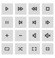 line media player icons set vector image