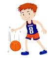 Man playing basketball alone vector image vector image