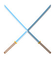 medieval katana icon and label flat style logo vector image vector image