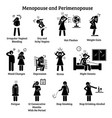 Menopause and perimenopause icons depict signs