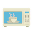 microwave oven with tea cup vector image vector image