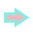 neon arrow isolated from red to turqoise vector image vector image