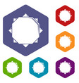 origami sun icons hexahedron vector image
