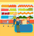 people shopping at supermarket choosing products vector image vector image