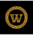 premium elegant capital letter w in a round frame vector image vector image