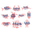 seafood lettering fishing club fish market vector image