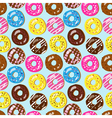 Seamless pattern of assorted doughnuts vector image vector image