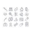 set black and white blood and medical icons vector image vector image
