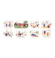 set healthy families doing sport exercises vector image vector image