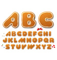 Set of letters in shape of a Christmas gingerbread vector image vector image