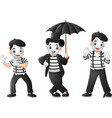 set of mimes performing different pantomimes vector image vector image