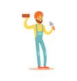 smiling bricklayer wearing orange safety helmet vector image vector image