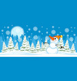 snowman on christmas trees background vector image vector image