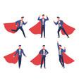 super businessman poses cartoon comic hero brave vector image vector image