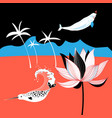 tropical picture with palm trees and whales vector image