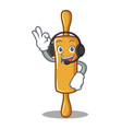 with headphone rolling pin character cartoon vector image vector image