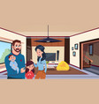 young family parents with two kids in modern vector image vector image