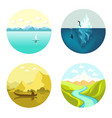 landscape icons flat set isolated on white vector image