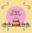 happy birthday cake and cupcakes dessert bakery vector image