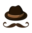 hat and mustache icon vector image