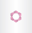 violet geometric hearts in circle logo vector image