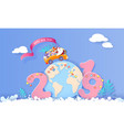 2019 happy new year design card with santa claus vector image