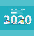 2020 new year fitness ideas concept man workout vector image vector image