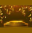 abstract round podium illuminated with spotlight vector image