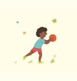 an african american boy with a basketball ball in vector image