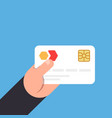 bank card with a chip in hand vector image