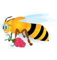 Bee with pink flower vector image vector image