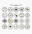 black and golden hand drawn cute circle hearts vector image vector image